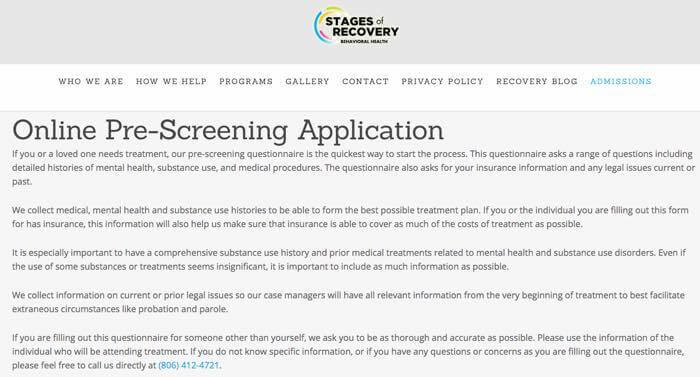 Online Pre-Screening Application